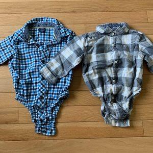 2 boys flannel bodysuits 12-18m